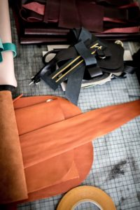 Alex Bender leather cuttings for bags picture by Jules Villbrandt