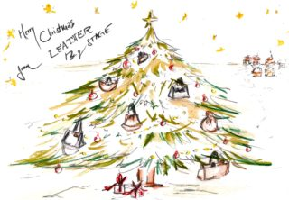 Christmas Illustration with handbags by Dodó for fine handcrafted handbags