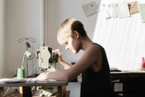 Handbag Designer Valerie Sietzy sewing