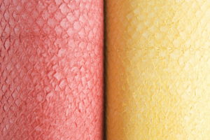 nanai salmon leather in red and yellow