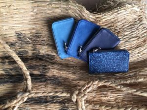 indigo leather wallets by SUKUMO