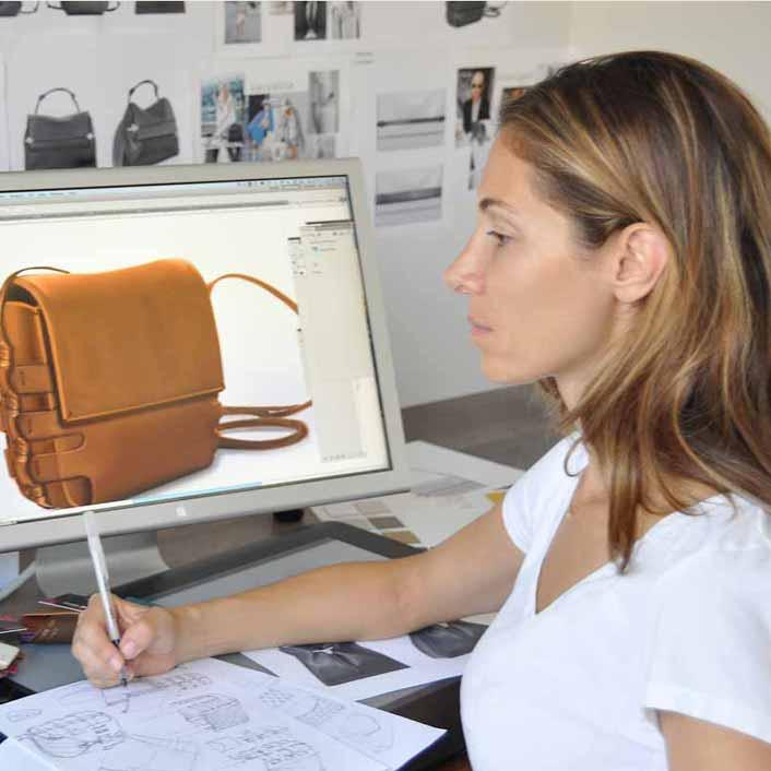 Handbag Design by designer Vicki von Holzhausen sketching leather handbags