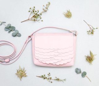 While Mini Rose Nubuck leather shoulder bag by KuulaplusJylha