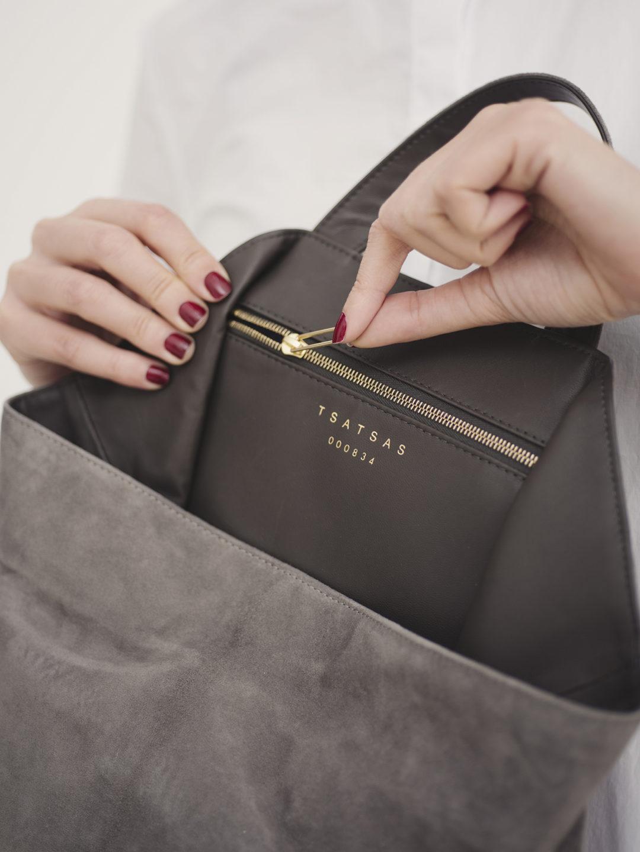 Tsatsas handbags: Fluke Bag grey